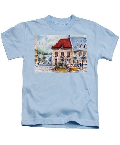Quebec City Flower Boxes Kids T-Shirt
