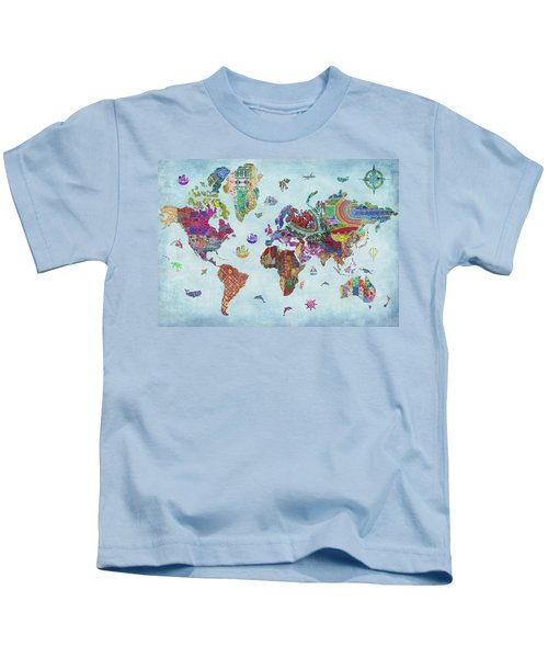 Quilted World Map Kids T-Shirt