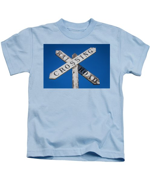 Railroad Crossing Wooden Sign Kids T-Shirt