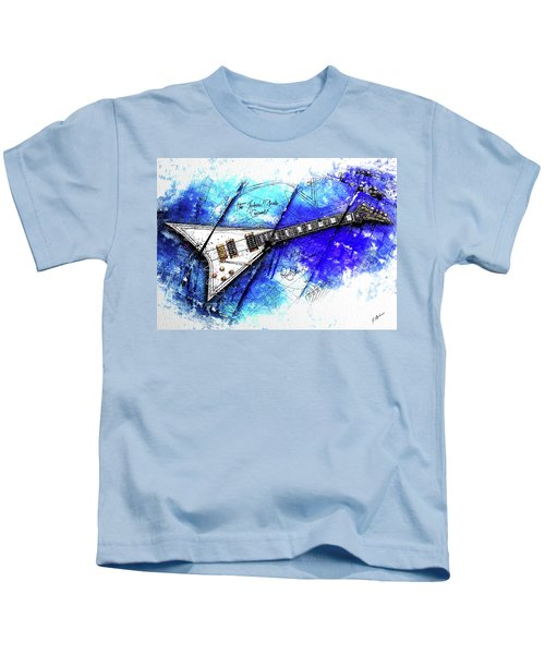 Randy's Guitar On Blue II Kids T-Shirt by Gary Bodnar