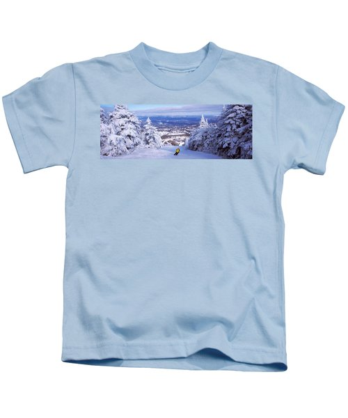 Rear View Of A Person Skiing, Stratton Kids T-Shirt