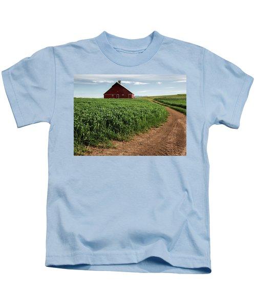Red Barn In Green Field Kids T-Shirt