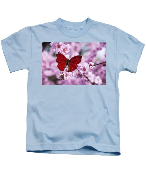 Red Butterfly On Plum  Blossom Branch Kids T-Shirt