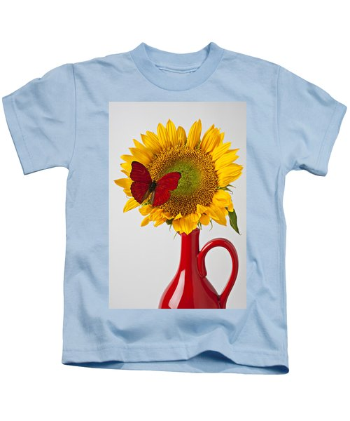 Red Butterfly On Sunflower On Red Pitcher Kids T-Shirt