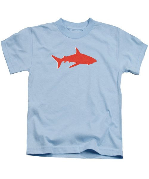 Red Shark Kids T-Shirt by Linda Woods