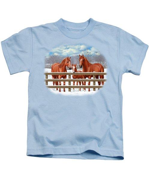 Red Sorrel Quarter Horses In Snow Kids T-Shirt