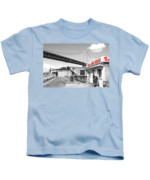 Reds Java House And The Bay Bridge In San Francisco Embarcadero . Black And White And Red Kids T-Shirt