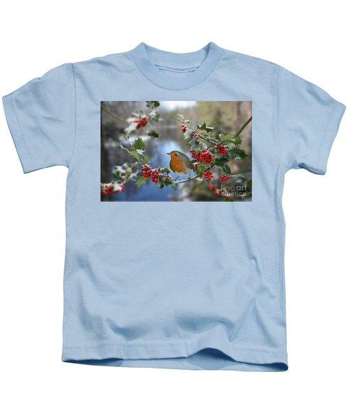 Robin On Holly Branch Kids T-Shirt