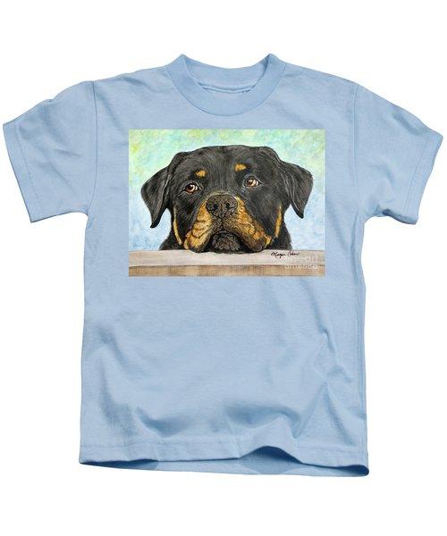 Rottweiler's Sweet Face 2 Kids T-Shirt by Megan Cohen