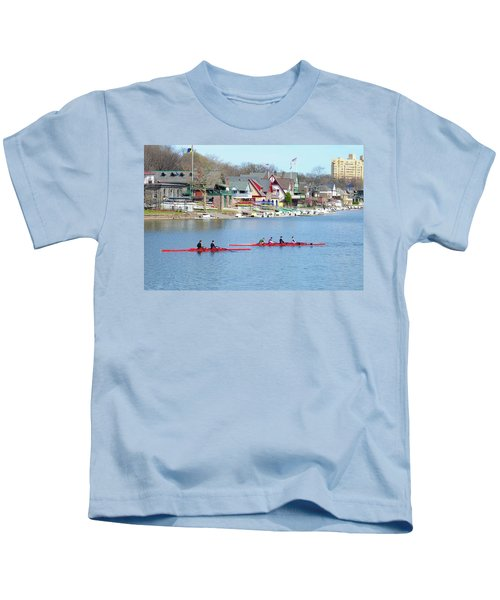 Rowing Along The Schuylkill River Kids T-Shirt
