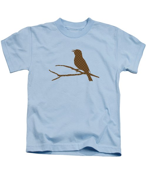 Rustic Brown Bird Silhouette Kids T-Shirt by Christina Rollo