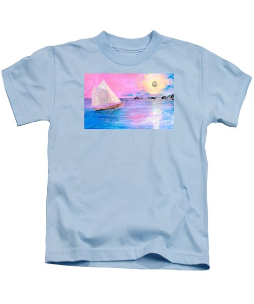 Sailboat In Pink Moonlight  Kids T-Shirt