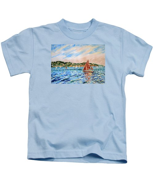Sailboat On The Bay Kids T-Shirt