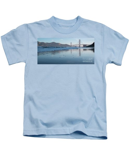 San Francisco Golden Gate Bridge Reflected On Baker's Beach Wet  Kids T-Shirt
