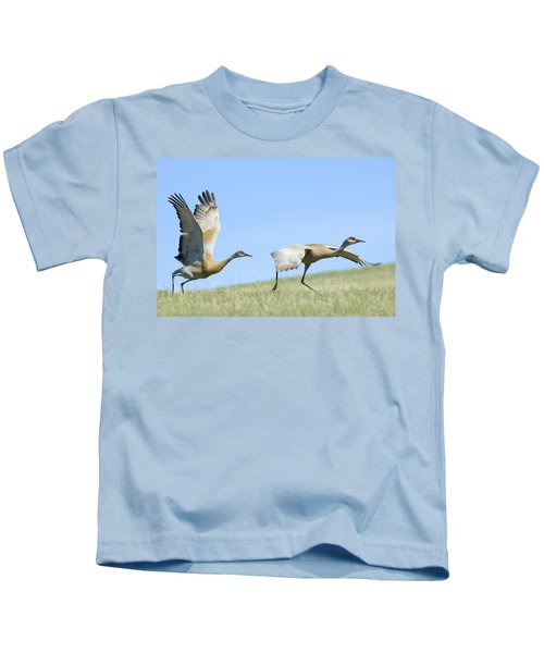 Sandhill Cranes Taking Flight Kids T-Shirt