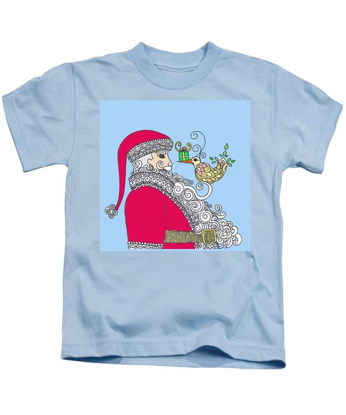 Santa And Bird On Blue Kids T-Shirt