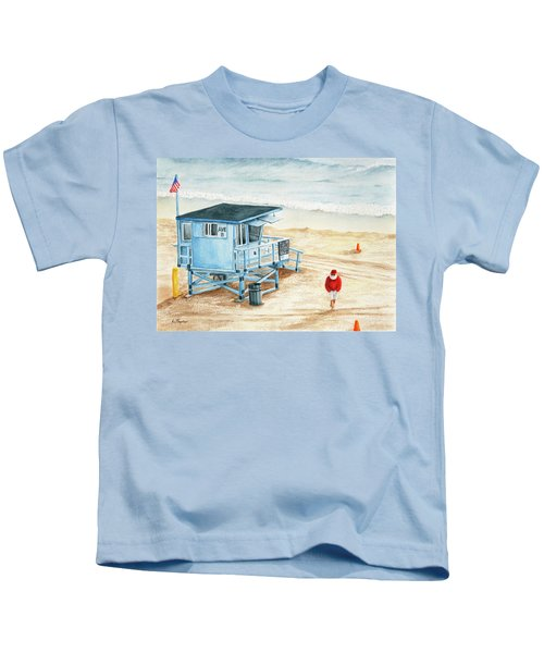 Santa Is On The Beach Kids T-Shirt