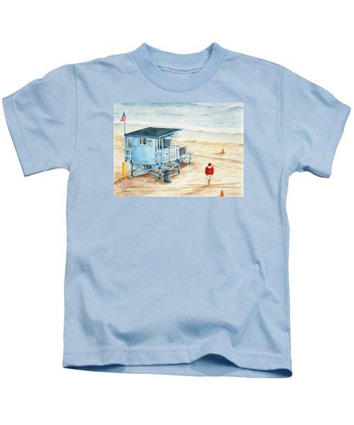 Santa Is On The Beach Kids T-Shirt