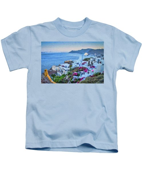 Santorini Greece Dwp416136  Kids T-Shirt