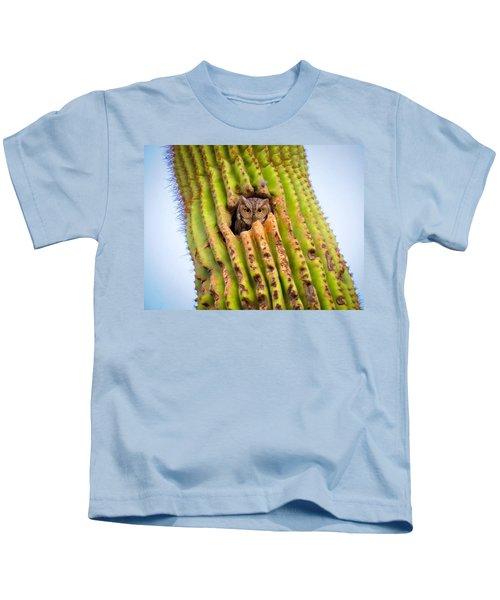 Screech Owl In Saguaro Kids T-Shirt