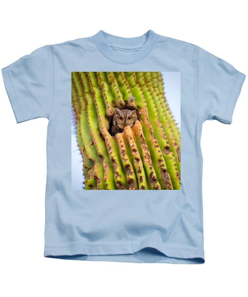 Kids T-Shirt featuring the photograph Screech Owl In Saguaro by Judy Kennedy