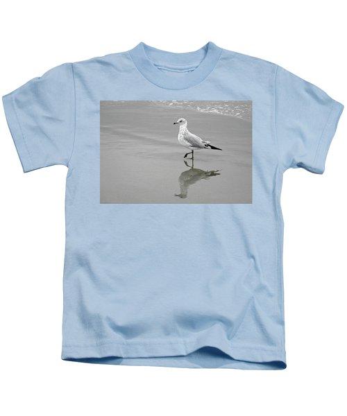 Sea Gull Walking In Surf Kids T-Shirt