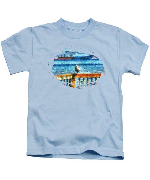 Seagull In Astoria  Kids T-Shirt by Thom Zehrfeld