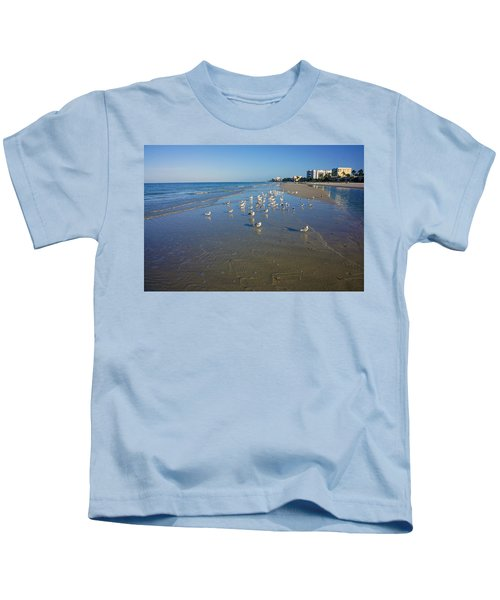 Seagulls And Terns On The Beach In Naples, Fl Kids T-Shirt