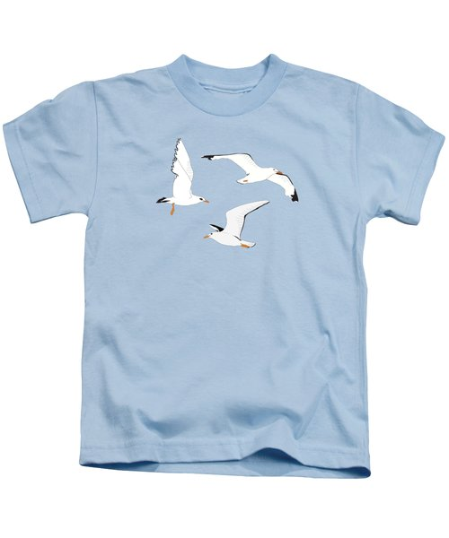 Seagulls Gathering At The Cricket Kids T-Shirt by Elizabeth Tuck