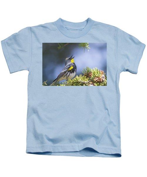 Singing Audubon's Warbler Kids T-Shirt