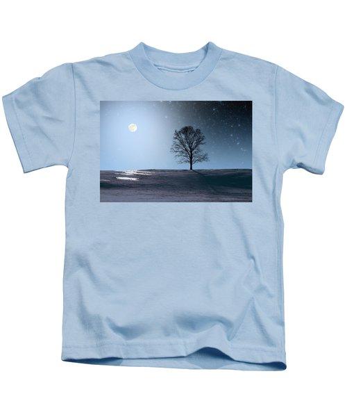 Single Tree In Moonlight Kids T-Shirt