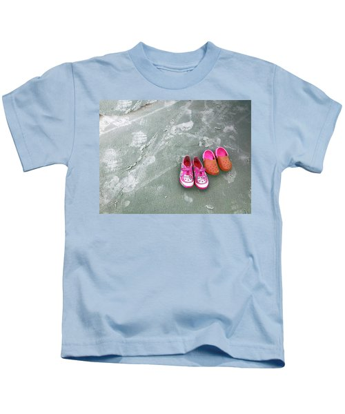 Sisters Playing Barefoot In The Sand Kids T-Shirt
