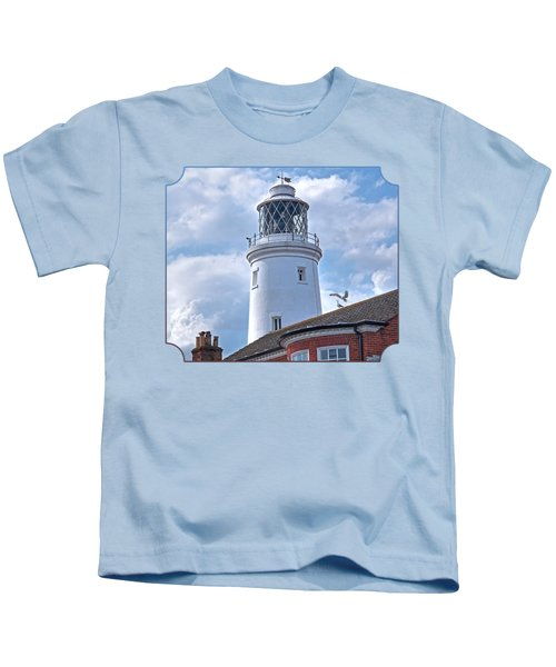 Sky High - Southwold Lighthouse Kids T-Shirt by Gill Billington