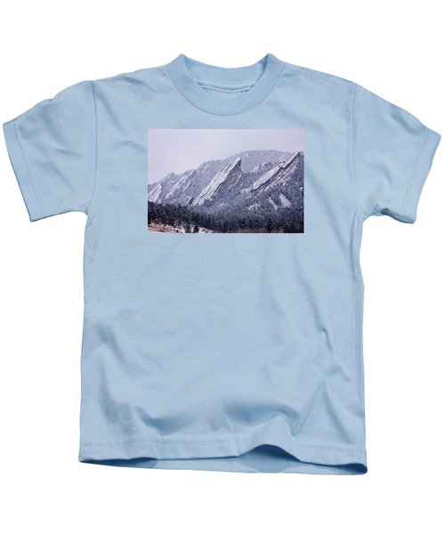 Snow Dusted Flatirons Boulder Colorado Kids T-Shirt