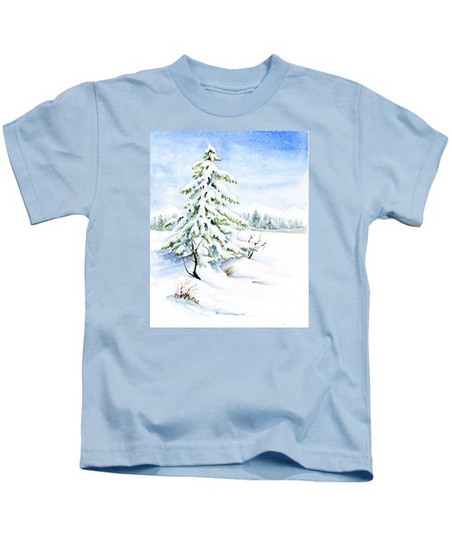 Snow On Evergreens Kids T-Shirt