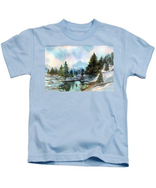 Snowy Lake Reflections Kids T-Shirt