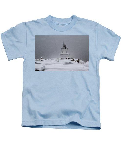 Spring Point Ledge Lighthouse Blizzard Kids T-Shirt