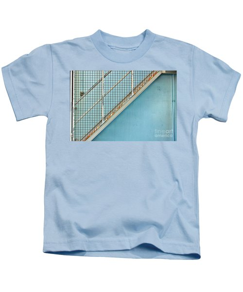 Stairs On Blue Wall Kids T-Shirt