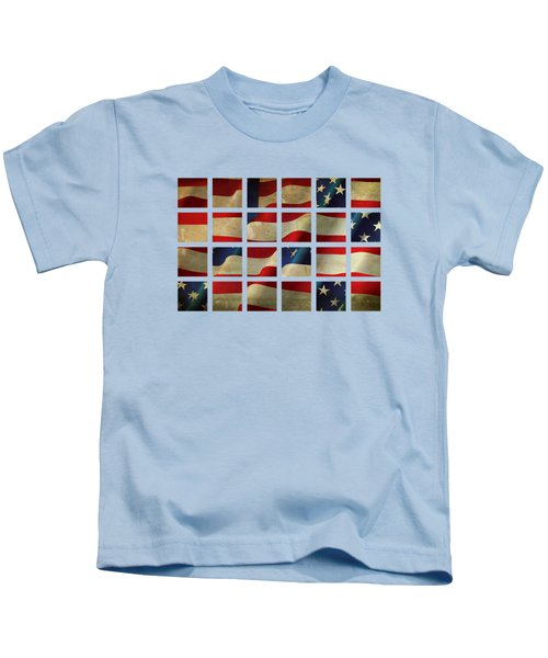 Stars And Stripes And Squares Kids T-Shirt