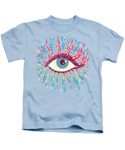 Strange Blue Psychedelic Eye Kids T-Shirt by Boriana Giormova