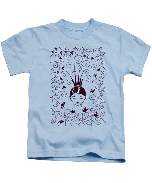 Strange Hairstyle And Flowery Swirls Kids T-Shirt