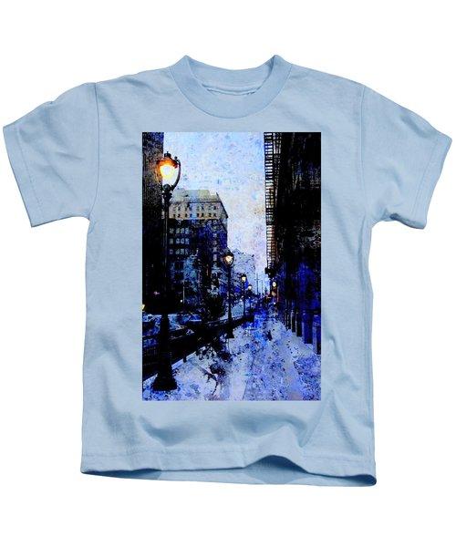 Street Lamps Sidewalk Abstract Kids T-Shirt