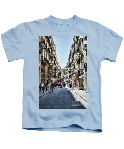 Streets Of La Rambia Barcelona  Kids T-Shirt