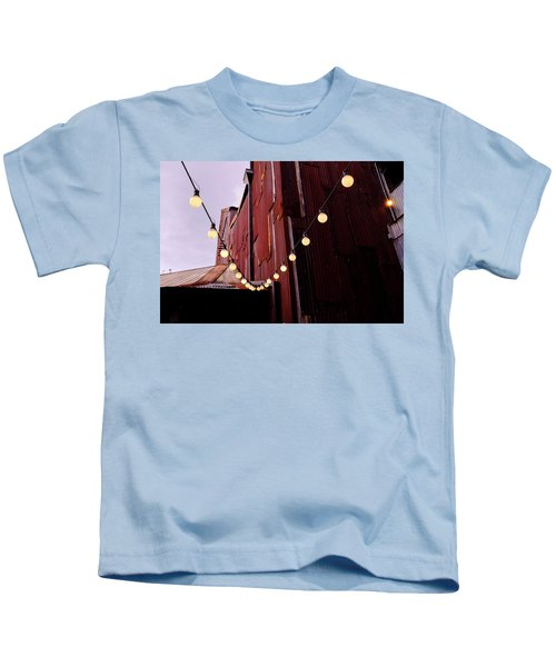 String Of Lights Near An Old Brown Building In Saint Augustine F Kids T-Shirt
