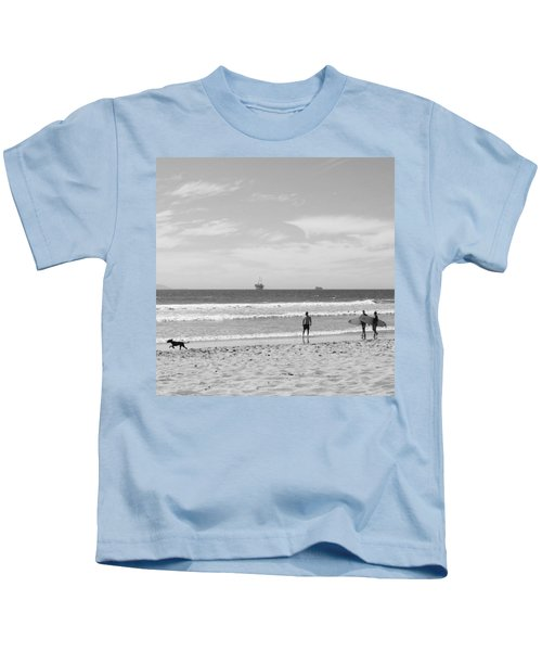 Strollin On Dog Beach Kids T-Shirt