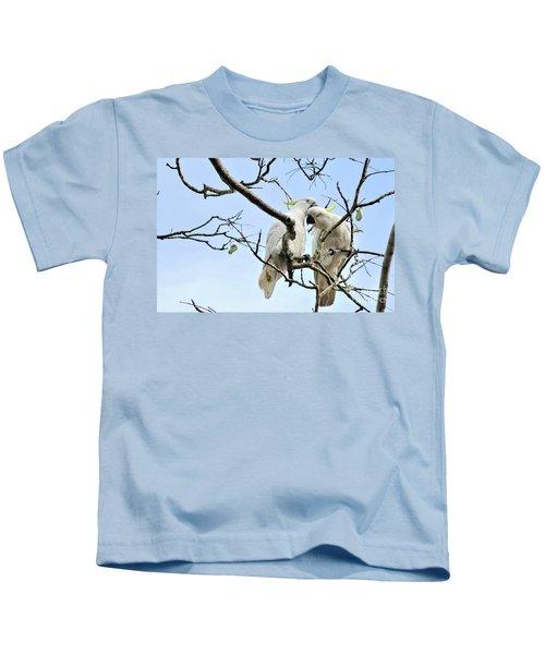 Sulphur Crested Cockatoos Kids T-Shirt by Kaye Menner