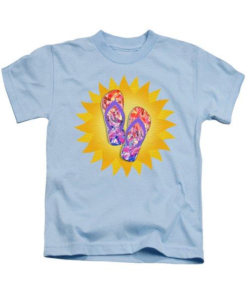 Summer Sunshine And Purple Flip-flops Kids T-Shirt