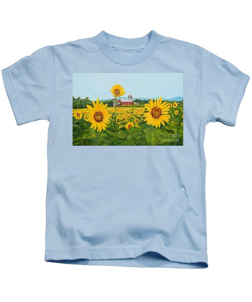 Sunflowers On Route 45 - Pennsylvania- Autumn Glow Kids T-Shirt