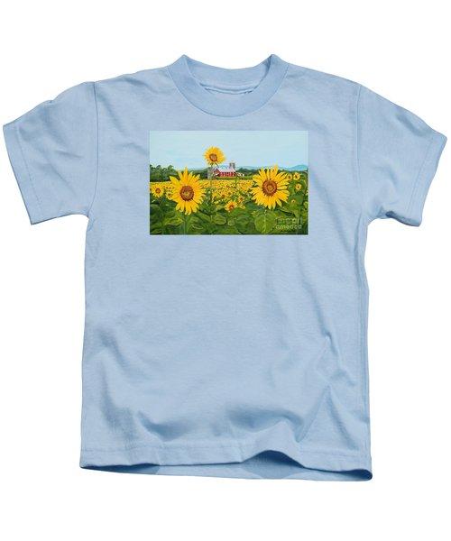 Sunflowers On Route 45 - Pennsylvania- Autumn Glow Kids T-Shirt