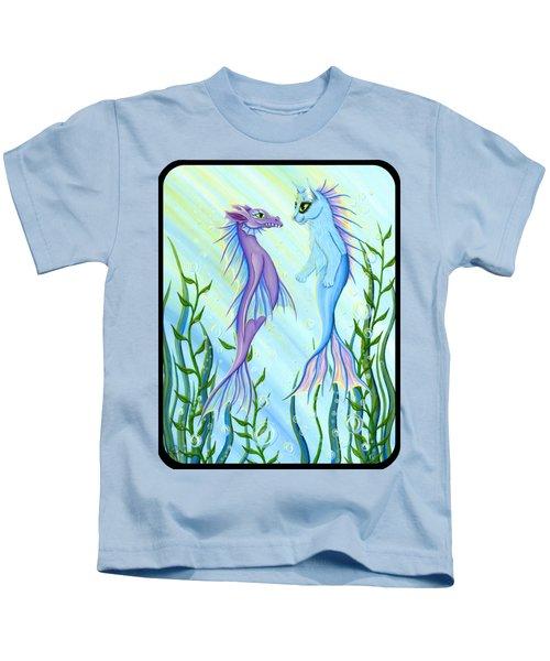 Sunrise Swim - Sea Dragon Mermaid Cat Kids T-Shirt